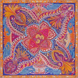 Hermes Le Jardin de la Maharani Cashmere and Silk Shawl GM