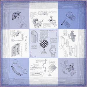 Hermes Les Objets Introuvables Silk Twill Pocket Square 45