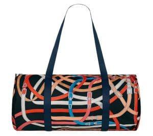 Hermes Noir/Bleu Marine/Fauve Airsilk Duffle 44 Bag