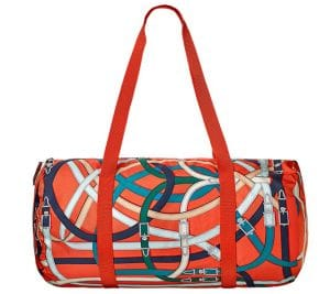 Hermes Orange Poppy/Fauve Airsilk Duffle 38 Bag