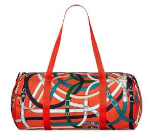 Hermes Orange Poppy/Fauve Airsilk Duffle 44 Bag