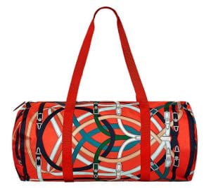 Hermes Orange Poppy/Fauve Airsilk Duffle 50 Bag