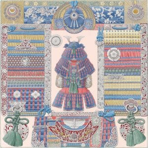 Hermes Parures de Samourais Silk Twill Scarf 90