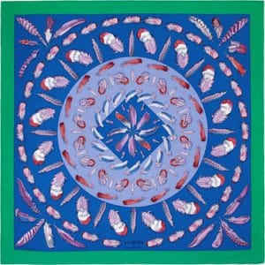 Hermes Plumes II Silk Twill Scarf 90