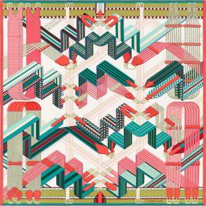 Hermes Sangles en Zigzag Silk Twill Scarf 90