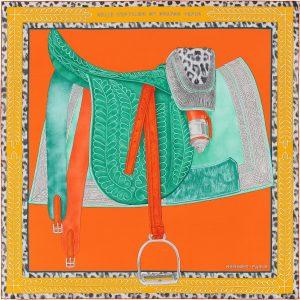 Hermes Selle d'Officier en Grande Tenue Silk Twill Scarf 90
