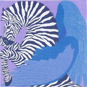Hermes Zebra Pegasus Silk Chiffon Shawl 140
