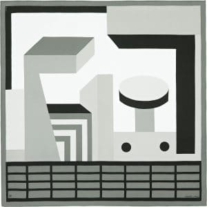 Hermes Zeta de Nathalie du Pasquier Silk Twill Scarf 90