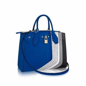 Louis Vuitton Blue/Gray Patchwork City Steamer MM Bag
