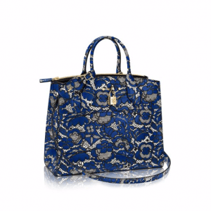 Louis Vuitton Blue/Noir Lace Print City Steamer MM Bag