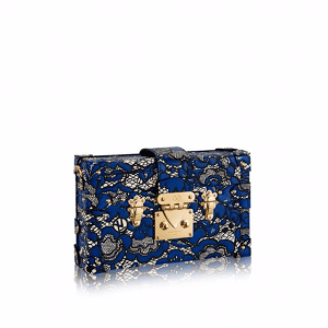 Louis Vuitton Blue/Noir Lace Print Petite Malle Bag