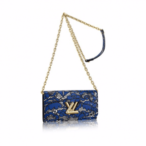 Louis Vuitton Blue/Noir Lace Print Twist Chain Wallet