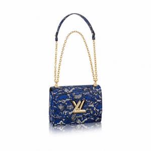 Louis Vuitton Blue/Noir Lace Print Twist MM Bag