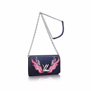 Louis Vuitton Blue/Pink Flame Embroidered Twist Chain Wallet