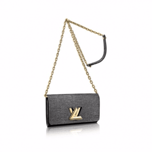Louis Vuitton Noir Epi Jean Twist Chain Wallet