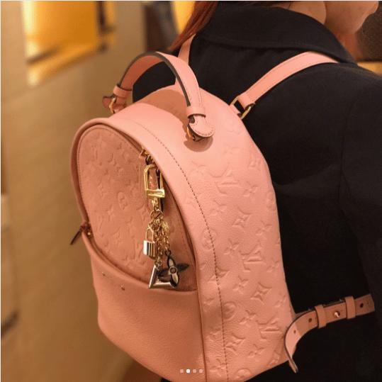 75bcaee5a183 Louis Vuitton Rose Ballerine Monogram Empreinte Sorbonne Backpack Bag 4.  IG  rnloveslv