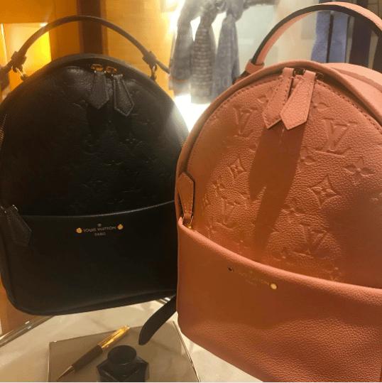 76e80f3ddc90 IG  danitopiol. Louis Vuitton Rose Ballerine and Noir Monogram Empreinte  Sorbonne Backpack Bags