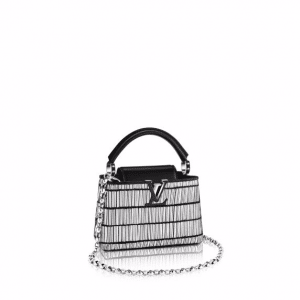Louis Vuitton Silver Pearl Strips Capucines Mini Bag
