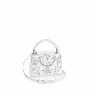 Louis Vuitton White Crystal Embroidered Capucines Mini Bag
