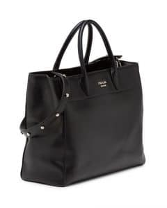 Prada Black City Tote Bag with Studded Strap