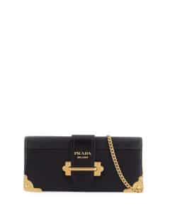 Prada Black Flap-Top Cahier Clutch Bag