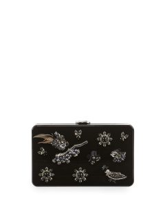 Prada Black Flora Plexi Clutch Bag