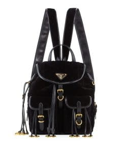 Prada Black Quilted Velvet Large Backpack Bag