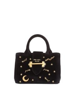 Prada Black Velvet Moon and Star Small Tote Bag