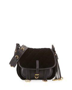 Prada Black Velvet/Calfskin Corsaire Bag