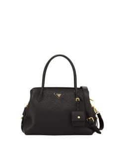 Prada Black Vitello Daino Medium Top Handle Bag