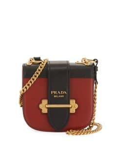 Prada Black/Brown Mini Curved Crossbody Bag