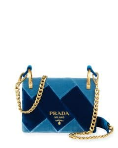 Prada Blue Velvet Cahier Bag