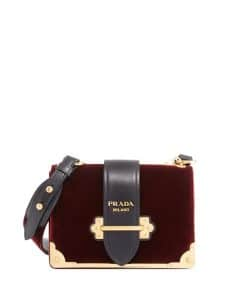 Prada Burgundy Velvet Small Cahier Bag