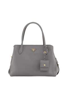 Prada Dark Gray Vitello Daino Medium Top Handle Bag