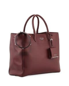 Prada Dark Red City Tote Bag with Studded Strap