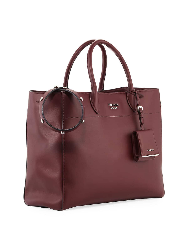 2224c0798cb6 Prada Dark Red City Tote Bag with Studded Strap