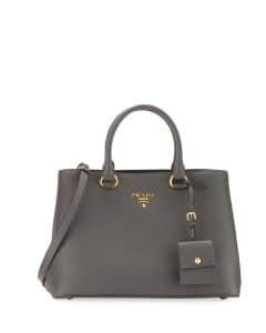 Prada Gray Pebbled Shoulder Tote Bag