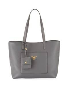 Prada Gray Vitello Daino Medium Open Tote Bag