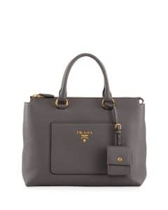 Prada Gray Vitello Daino Zip Pebbled Leather Tote Bag