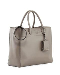 Prada Light Gray City Tote Bag with Studded Strap