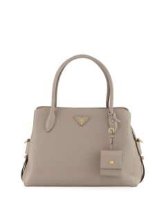 Prada Light Gray Vitello Daino Medium Top Handle Bag