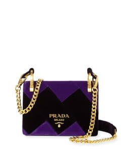 Prada Purple/Black Velvet Cahier Bag