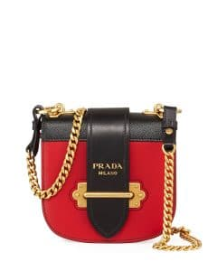 Prada Red/Black Mini Curved Crossbody Bag