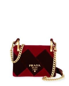 Prada Red/Black Velvet Cahier Bag