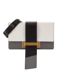 Prada White/Black/Gray Metal Ribbon Shoulder Bag