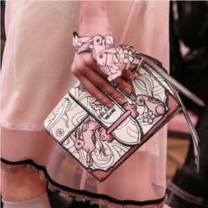 Prada White/Pink Ribbon Printed Cahier Bag - Resort 2018