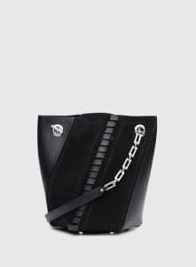 Proenza Schouler Black Leather/Suede Hex Mini Bucket Bag