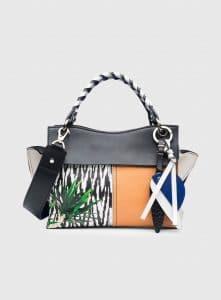 Proenza Schouler Black Mix Leather Curl Top Handle Bag