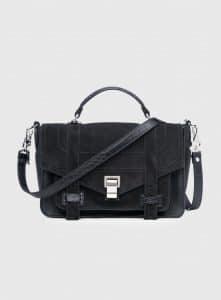 Proenza Schouler Black Suede/Embossed Crocodile PS1+ Medium Bag