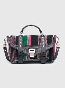Proenza Schouler Black/Juniper/Peony Woven Canvas/Python PS1+ Tiny Bag